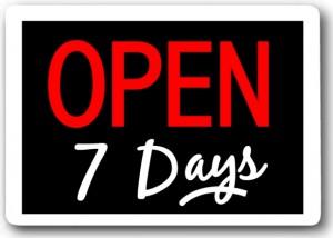 7 days open